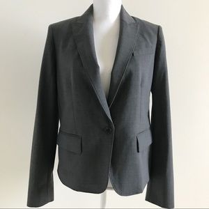 Anne Klein Gray Single Button Blazer Jacket 8